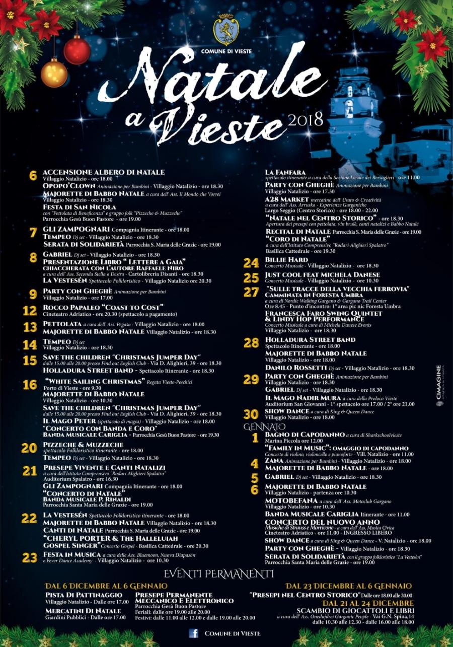 calendario eventi vieste natale 2018